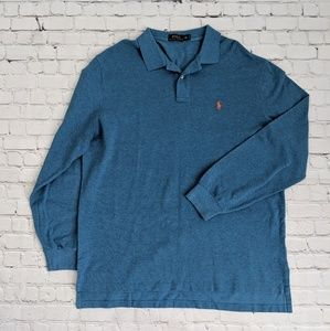 Polo by Ralph Lauren Shirts - Ralph Lauren Blue Long Sleeve Knit Polo